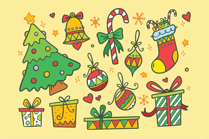 Christmas Hand drawn Vector Set, Printable and Editable