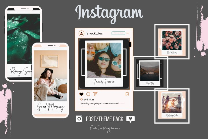 Charcoal & Pink Polaroid Instagram Post Template