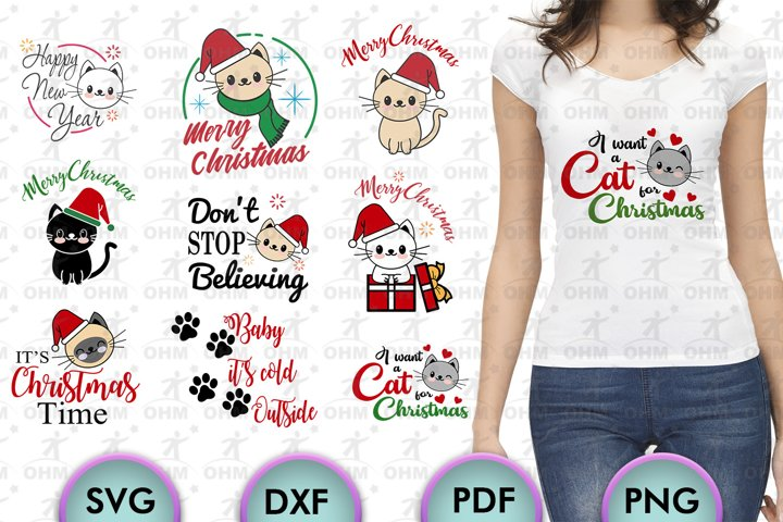 Cats Christmas Bundle, Cricut Maker, Silhouette, Cut Files