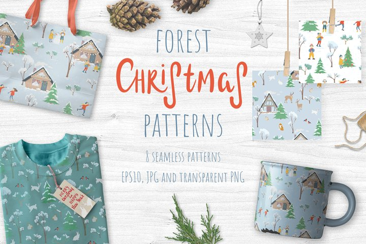 Forest Christmas patterns