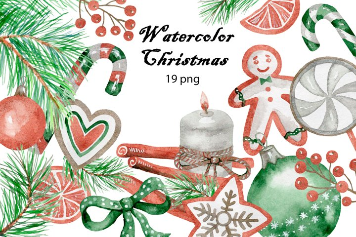 Christmas. Watercolor clipart collection.