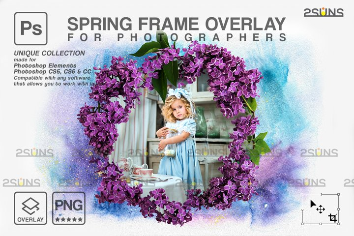 Spring flower digital frames overlay Easter