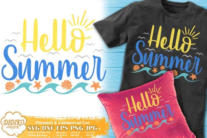 Hello Summer SVG | Beach SVG Cut File | Family Vacantion SVG
