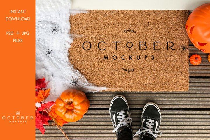 Door mat mockup | Halloween doormat mockup | JPG PSD