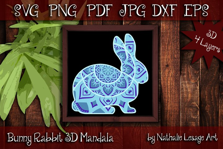 3D SVG Mandala Bunny Rabbit 4 Layers Cutting File Barnyard