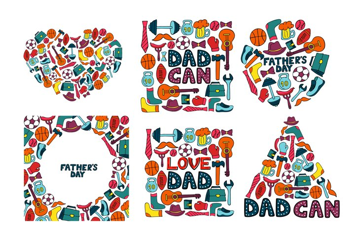 Happy Fathers Day. Greeting cards and seamless pattern