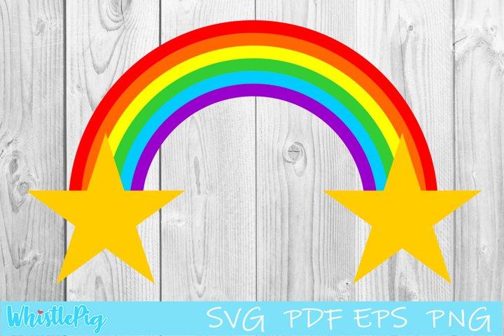 Rainbow Svg Rainbow With Clouds Svg Rainbow With Stars Svg