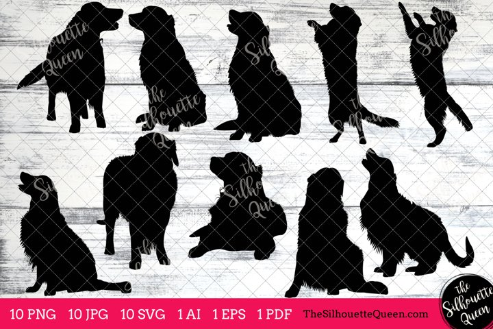 Golden Retriever Silhouettes Clipart Clip Art (AI, EPS, SVGs, JPGs, PNGs, PDF) , Golden Retriever Dog Vectors - Commercial and Personal Use