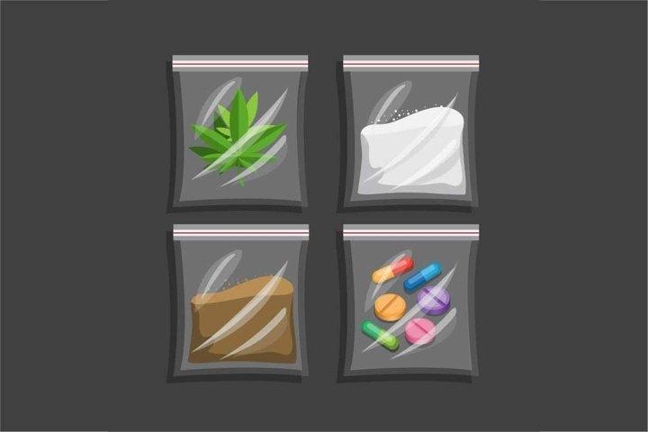 Narcotic in plastic bag collection set. drug symbol vector