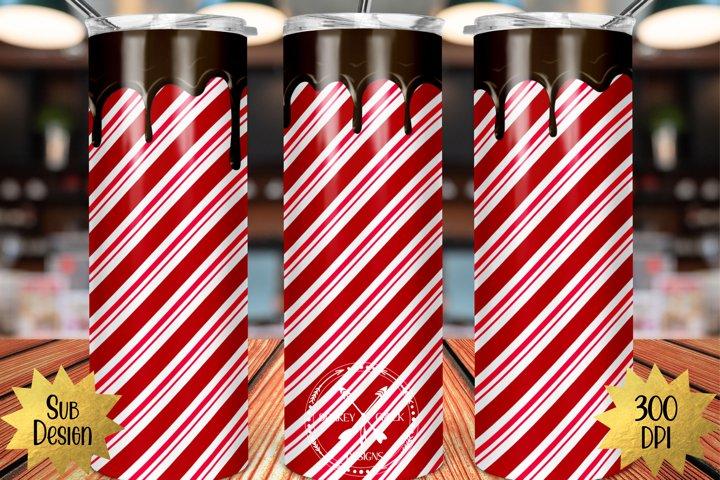 20 oz Skinny Tumbler Peppermint Mocha Sublimation PNG Design