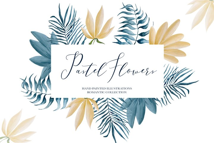 Pastel flowers - patterns and frames