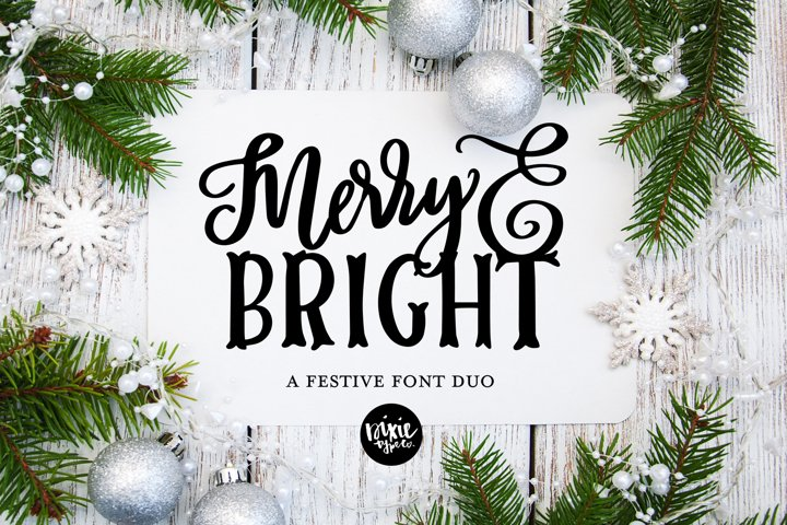 MERRY & BRIGHT a Festive Christmas Font Duo