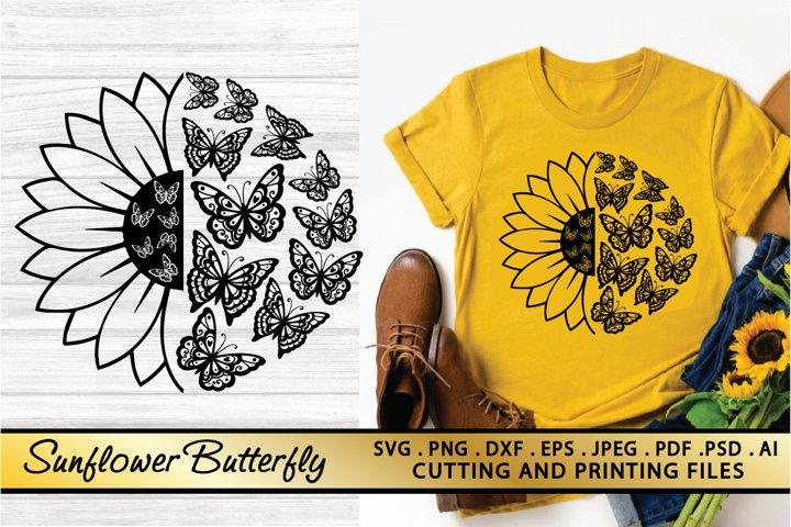 Butterfly Sunflower SVG PNG EPS DXF Files Butterfly SVG