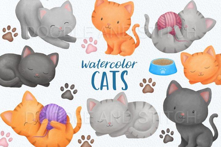 Cute Watercolor Cat Clipart Illustrations