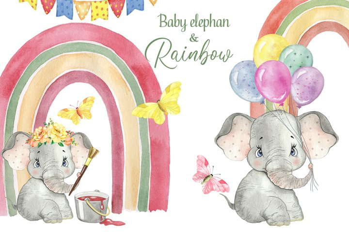 Watercolor Rainbow clipart. Elephant Watercolor clipart.