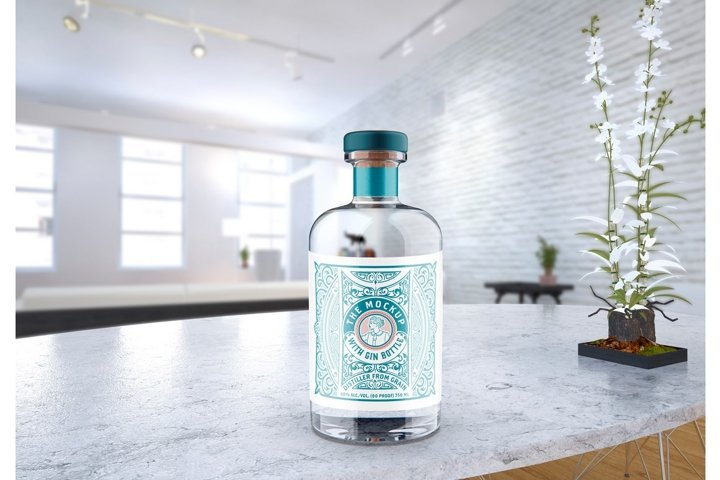 Clear Glass Gin Bottle Mockup with room scene