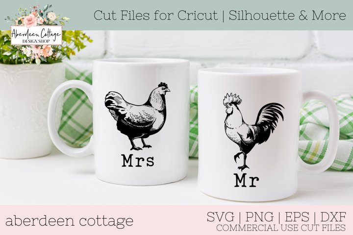 Mr and Mrs Rooster Hen Farmhouse Decor Design