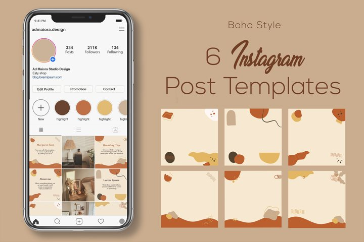 Boho Instagram Post Templates for Canva and Photoshop