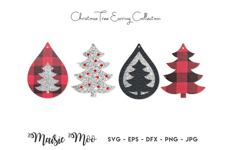 Christmas Tree Earring SVG | Faux Leather Earrings Templates