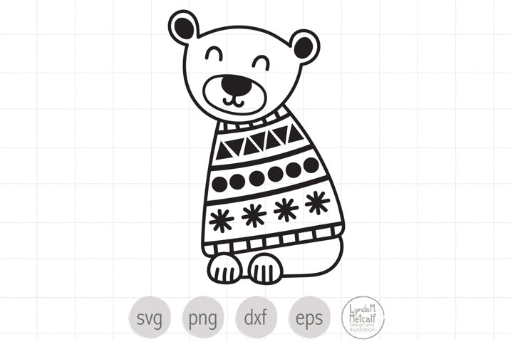 Winter Bear SVG Cut File for Christmas, Polar Bear SVG