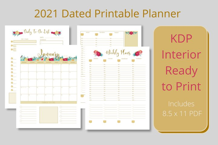2021 Dated Printable Floral and Gold Planner KDP Interior