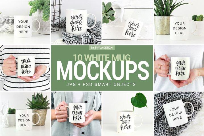 10 Mug mockup bundle, white & green lifestyle stock photos