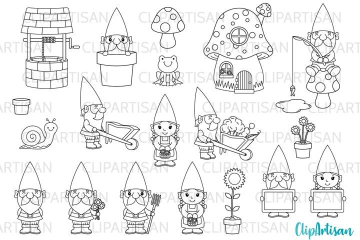 Garden Gnomes Clipart Gnome Digital Stamps PNG JPEG SVG