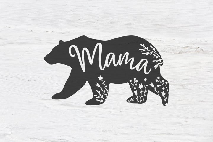 Mama bear , Floral bear SVG, EPS, PNG, DXF