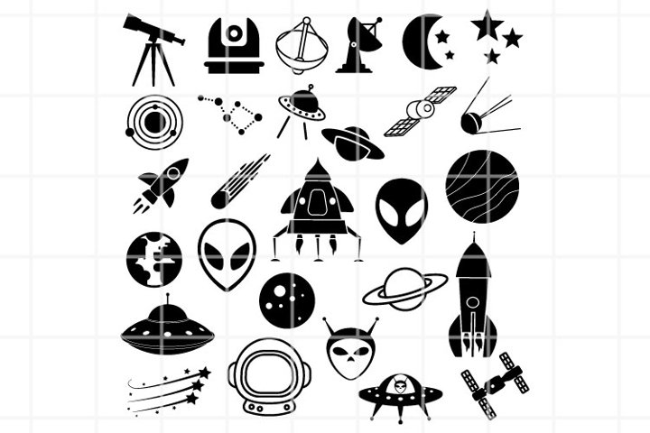 Astronomy SVG. Space cutting files. UFO clipart files.