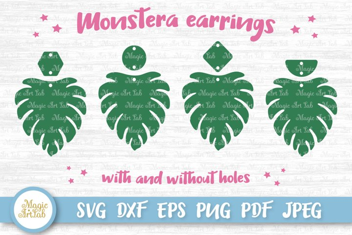 Monstera earrings svg, Tropical leaf svg, Tropical earrings