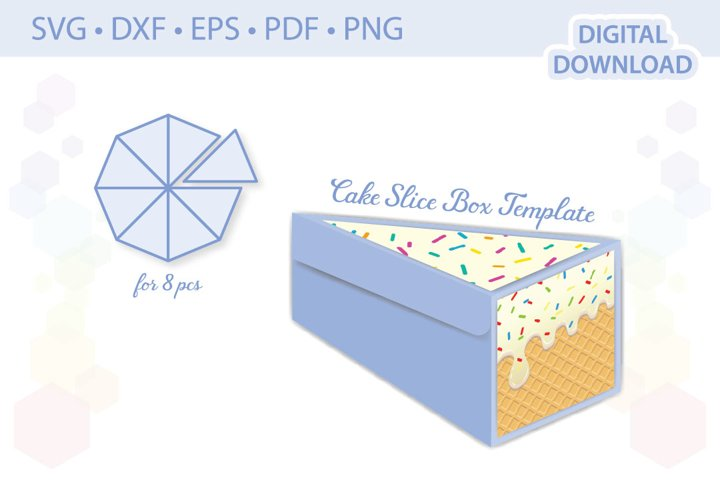 Cake Slice Box Template favor box gift box cut file
