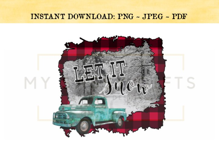 Let It Snow Merry Christmas With Buffalo Plaid Print PNG