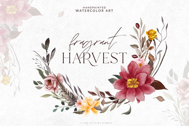 Fragrant Harvest- Watercolor Flowers & Leaves