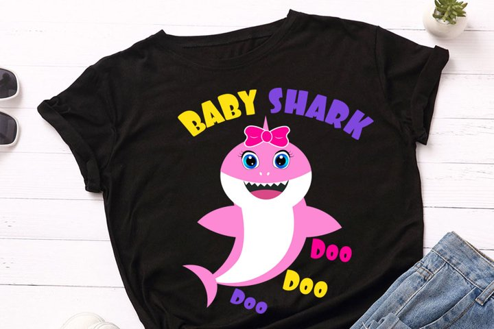 Baby shark Svg, girl Shark clipart, pink shark svg, cricut,
