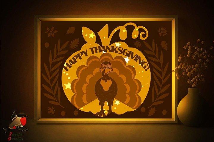Happy Thanksgiving Turkey Lightbox Shadow Box SVG Template
