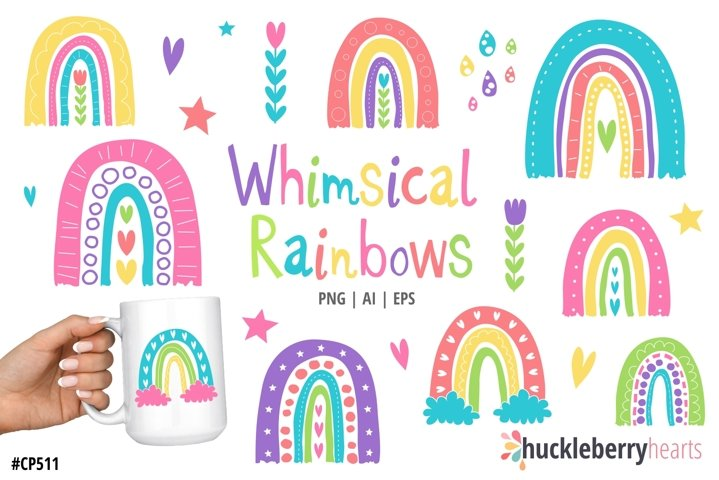 Whimsical Rainbows Clipart