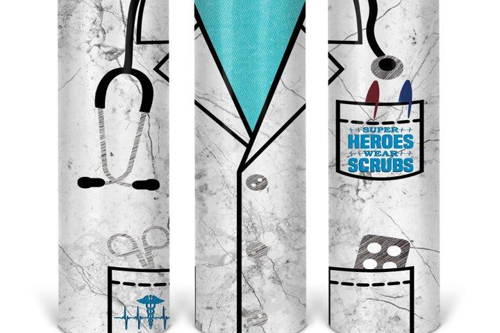 Full wrap 20oz Doctor Skinny Tumbler Sublimation Design