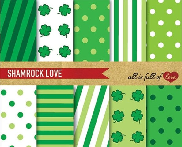 St Patricks Digital Paper 4 Leafs Clovers Background Patterns