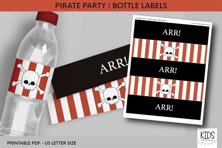 Pirate party Water Bottle Labels, pirates birthday party