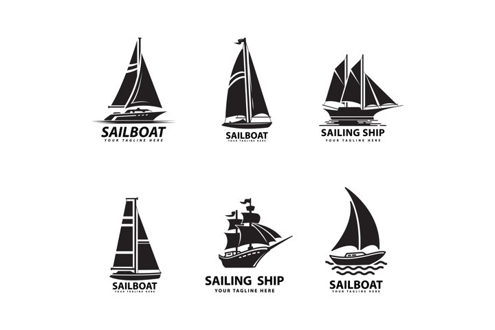 sailboat and ship logo design