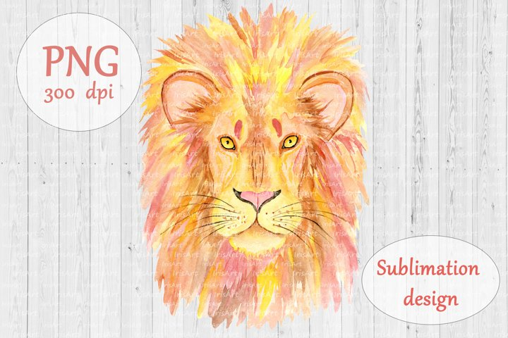 Watercolor Lion - PNG Sublimation Design - Animal Clipart