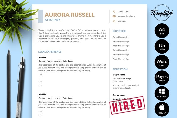Legal Resume CV Template for Word & Pages Aurora Russell