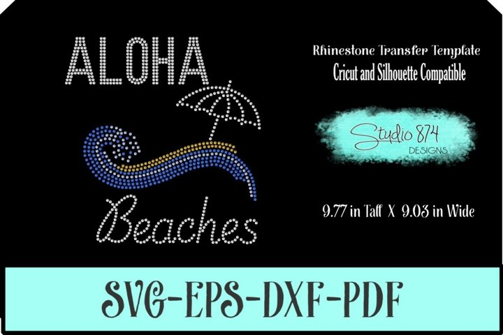 Aloha Beaches Rhinestone SVG Transfer Template