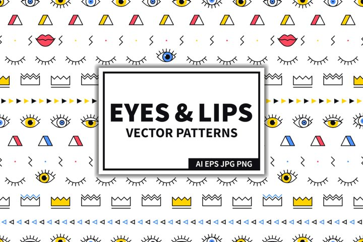 Eyes and Lips Seamless Patterns Set