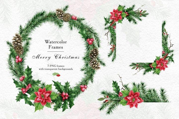 Christmas poinsettia wreath, border, Watercolor Winter PNG