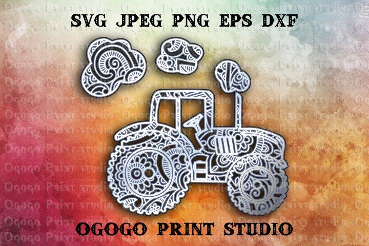 3D Layered Tractor Svg, Mandala Svg, Zentangle SVG