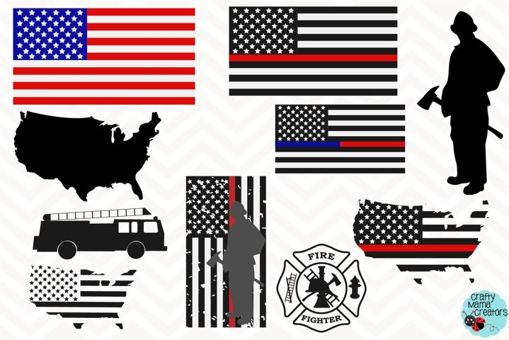 Firefighter SVG, Firefighter Flag SVG, Firefighter Red Line