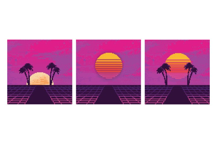 Pixel art of 80s Retro Sci-Fi background. Retrowave.