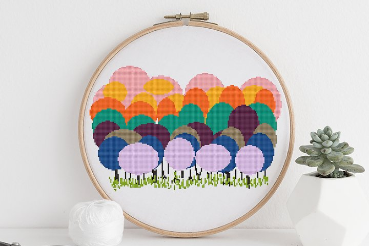 Cross stitch pattern PDF Colorful trees Geometric stitch