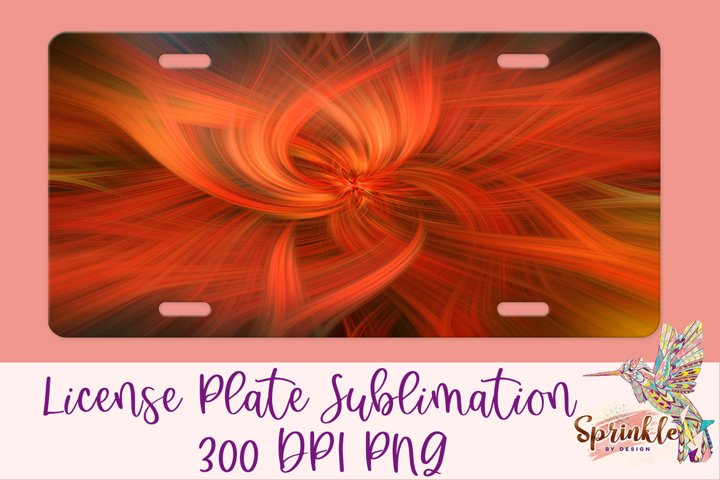 Orange Spirals License Plate Sublimation